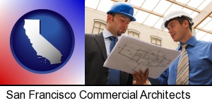 two architects reviewing blueprints in San Francisco, CA