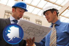 alaska two architects reviewing blueprints