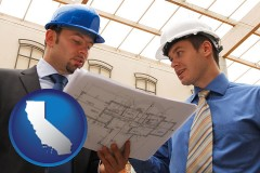 california two architects reviewing blueprints
