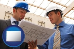colorado map icon and two architects reviewing blueprints