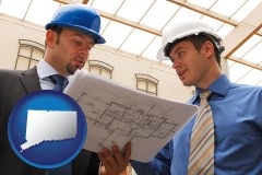 connecticut map icon and two architects reviewing blueprints