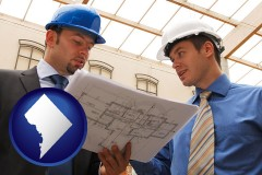 washington-dc two architects reviewing blueprints