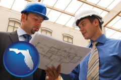 florida map icon and two architects reviewing blueprints