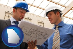 georgia map icon and two architects reviewing blueprints