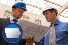 iowa map icon and two architects reviewing blueprints