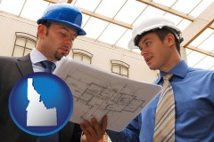 idaho two architects reviewing blueprints