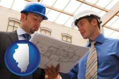 illinois two architects reviewing blueprints