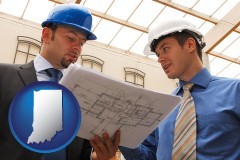 indiana two architects reviewing blueprints