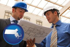 massachusetts map icon and two architects reviewing blueprints