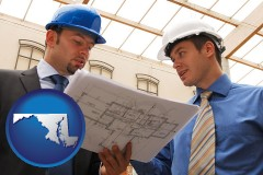 maryland map icon and two architects reviewing blueprints