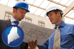 maine two architects reviewing blueprints