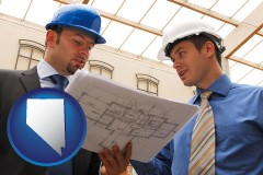 nevada two architects reviewing blueprints