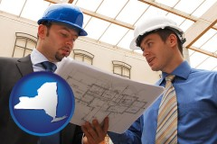 new-york two architects reviewing blueprints