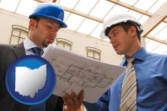 ohio two architects reviewing blueprints