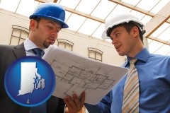 rhode-island map icon and two architects reviewing blueprints