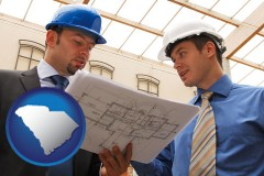 south-carolina two architects reviewing blueprints