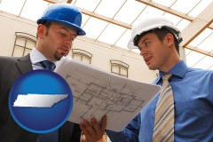 tennessee two architects reviewing blueprints
