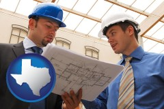 texas two architects reviewing blueprints