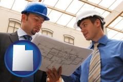utah two architects reviewing blueprints