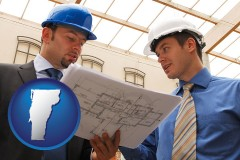 vermont map icon and two architects reviewing blueprints
