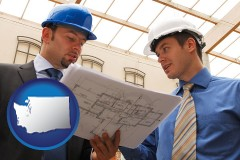 washington two architects reviewing blueprints