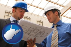 west-virginia two architects reviewing blueprints