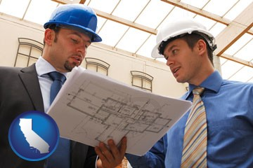 two architects reviewing blueprints - with California icon