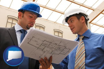 two architects reviewing blueprints - with Connecticut icon