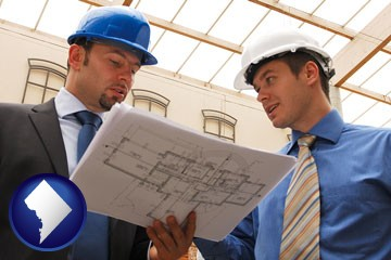 two architects reviewing blueprints - with Washington, DC icon
