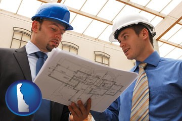 two architects reviewing blueprints - with Delaware icon