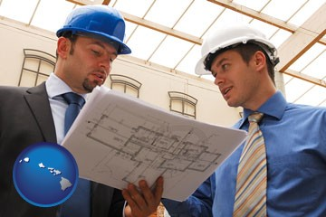 two architects reviewing blueprints - with Hawaii icon