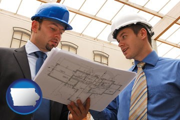 two architects reviewing blueprints - with Iowa icon