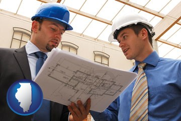 two architects reviewing blueprints - with Illinois icon