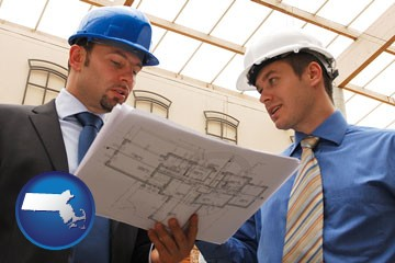 two architects reviewing blueprints - with Massachusetts icon
