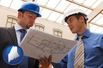two architects reviewing blueprints - with Maine icon