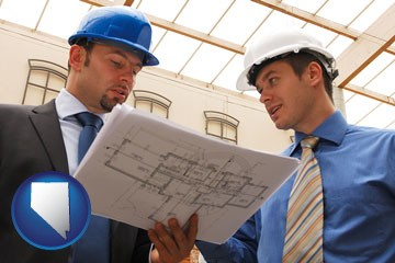two architects reviewing blueprints - with Nevada icon
