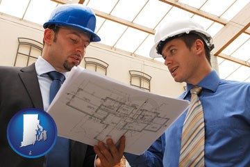 two architects reviewing blueprints - with Rhode Island icon