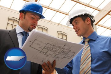 two architects reviewing blueprints - with Tennessee icon