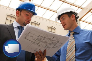 two architects reviewing blueprints - with Washington icon