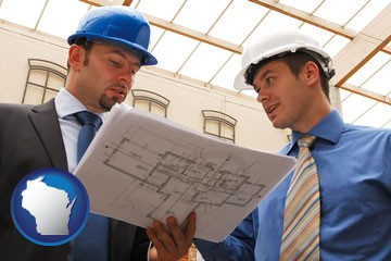 two architects reviewing blueprints - with Wisconsin icon